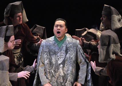 Baritone Haijing Fu is Seikyo in the Opera Company of Philadelphia's East Coast Premiere of Tan Dun's TEA: A MIRROR OF SOUL, running through February 28th at the Academy of Music.