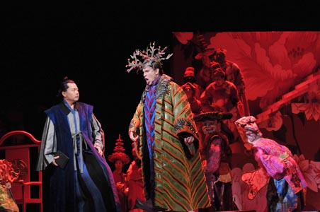 Baritone Haijing Fu is Seikyo with tenor Roger Honeywll as the Prince in the Opera Company of Philadelphia's East Coast Premiere of Tan Dun's TEA: A MIRROR OF SOUL, running through February 28th at the Academy of Music.