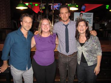 Philly2Philly's Christine Tarlecki (left) and Diane Cooney (right) with Franklin and Bash stars Breckin meyer and Mark-Paul Gosselaar at the show's screening at Dave & Buster's.